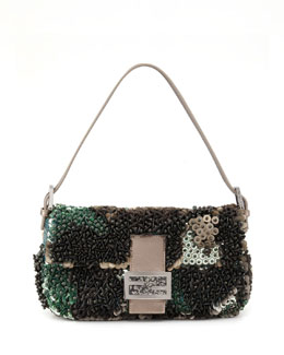 Fendi Medium Bead & Sequin Baguette, Green/Gray