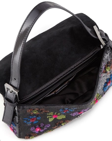 Baguette Floral Sequin Bag, Black/Multi