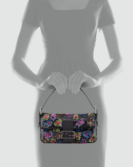 Baguette Floral Sequin Bag, Black/Multi