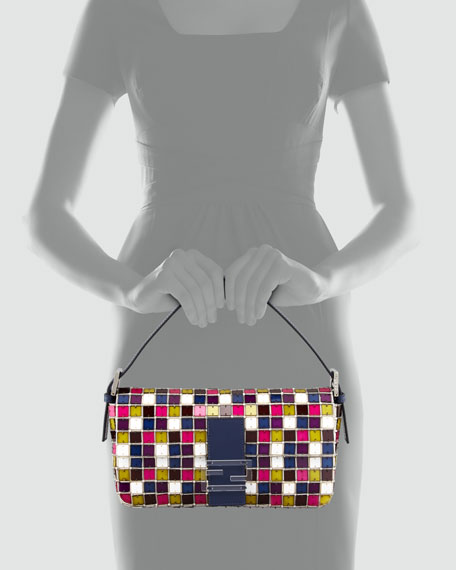 Multicolor Mosaic Baguette Bag