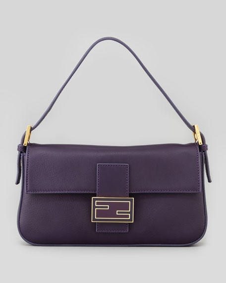 Leather Medium Baguette Bag, Amethyst