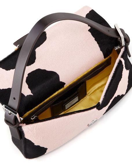 Printed Calf Hair Baguette, Black/Pink