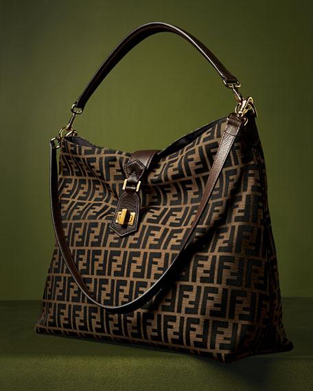 Fendi Zucca Large Hobo/Crossbody Bag, Brown