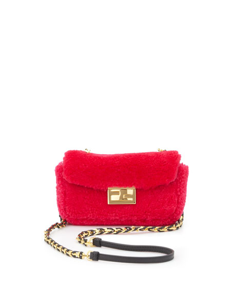 Mini Be Baguette Shearling Crossbody Bag, Pink/Black