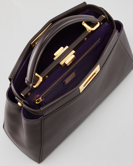 Peekaboo Leather Tote Bag, Brown/Purple