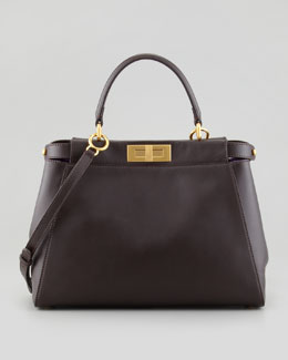 Fendi Peekaboo Leather Tote Bag, Brown/Purple