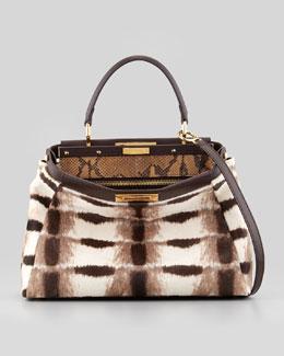 Fendi Peekaboo Python-Lined Calf Hair Bag