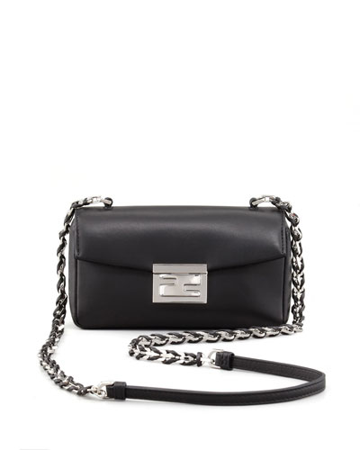 Fendi Mini Be Leather Crossbody Baguette, Black