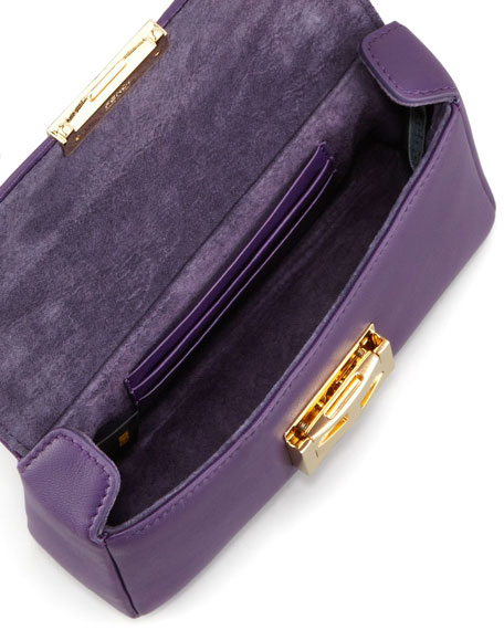 Mini Be Leather Crossbody Baguette, Violet