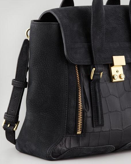 Pashli Mixed-Media Medium Satchel Bag, Black
