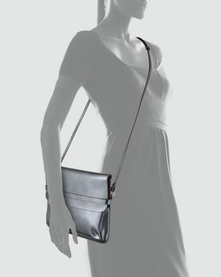 Spazzolato Crossbody Bag, Metallic Gray