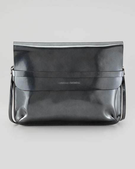 Spazzolato Crossbody Bag, Metallic Gray