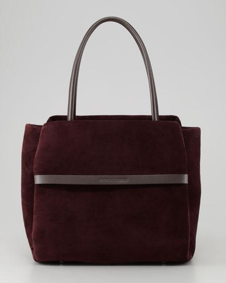 Padded Suede Satchel Bag, Prune
