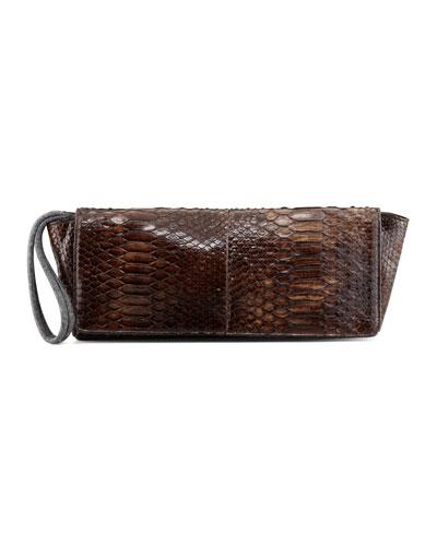 Brunello Cucinelli Shiny Python Wristlet Clutch Bag, Brown