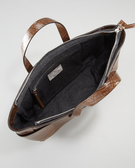 Glossy Vitello East-West Tote Bag, Brown