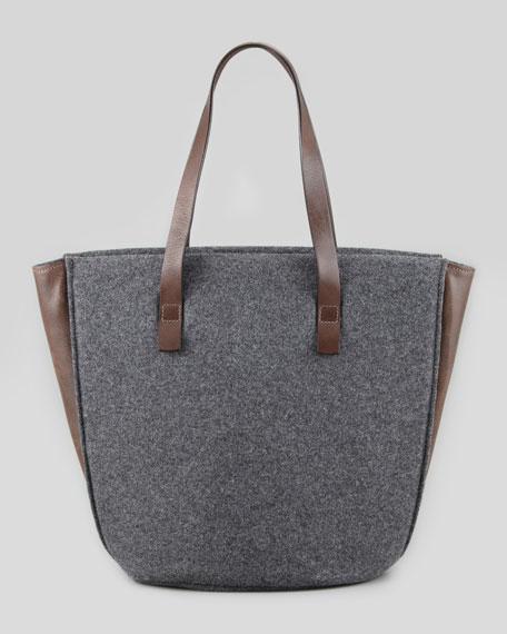 Feltro Flannel Bucket Tote Bag, Charcoal