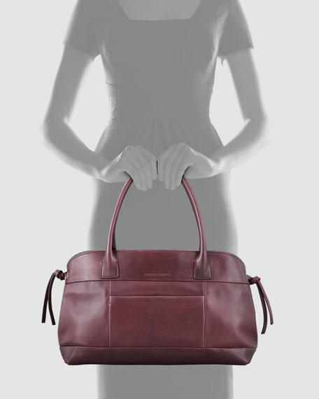 Double-Handle  Zip Satchel Bag, Prune
