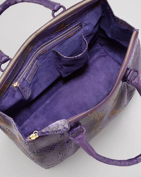 Executive Python &  Crocodile Tote Bag, Purple