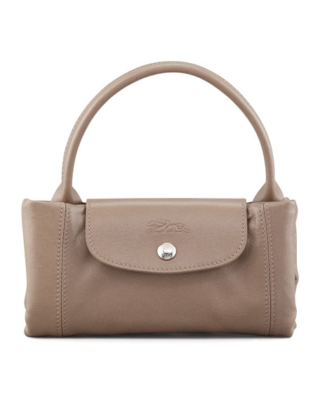 Le Pliage Cuir Small Handbag with Strap, Gray