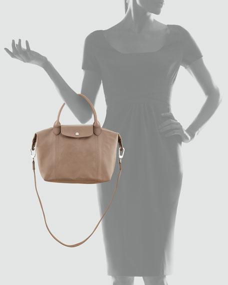 Le Pliage Cuir Small Handbag with Strap, Gray