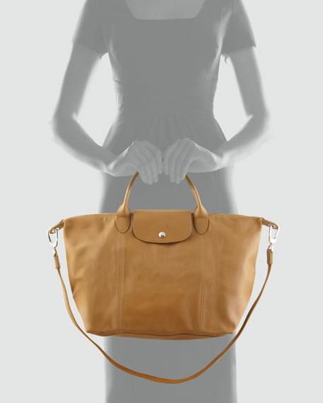 Le Pliage Cuir Handbag with Strap Camel