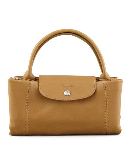 Le Pliage Cuir Handbag with Strap, Camel