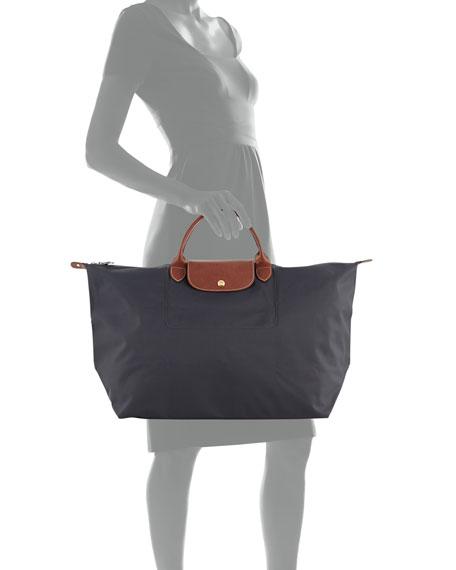 Le Pliage Large Monogram Travel Tote Bag, Gray