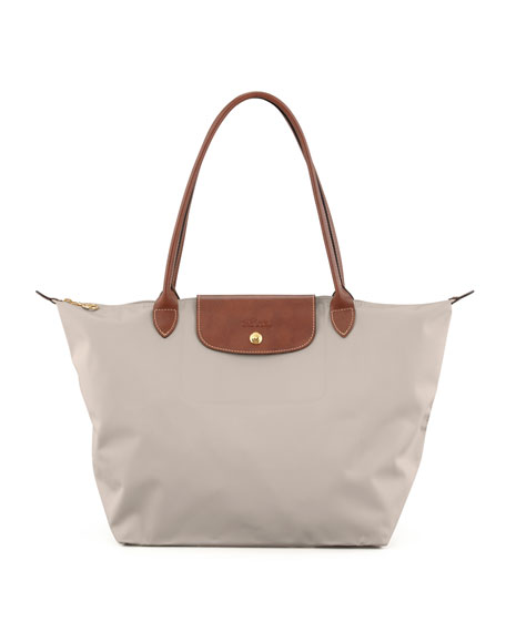 longchamp le pliage large shoulder tote light gray. Black Bedroom Furniture Sets. Home Design Ideas