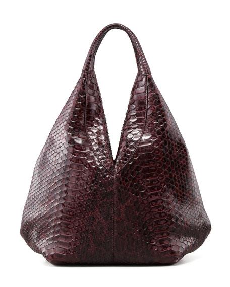Napsack Python Hobo Bag, Wine