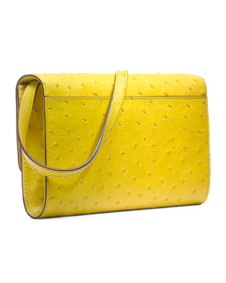 Gia Ostrich-Embossed Clutch
