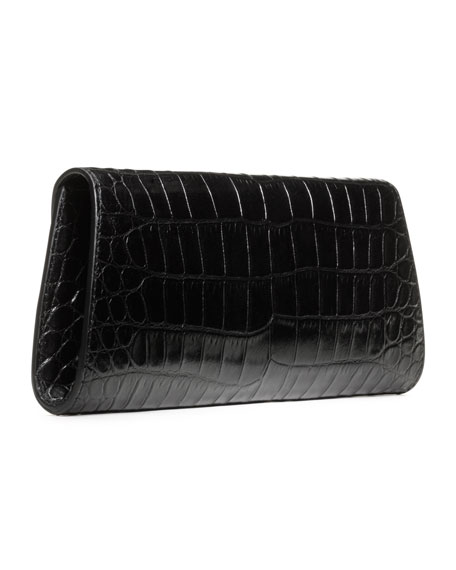 Taylor Crocodile-Embossed Clutch