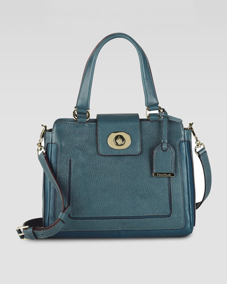 Lafayette Small Leather Satchel Bag, Pendant Teal