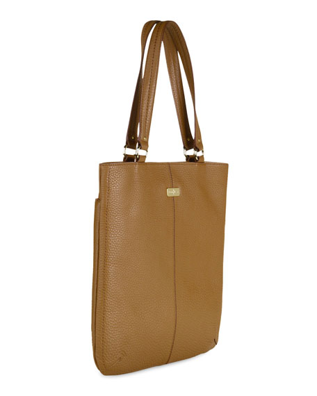 Village Flat Tote Bag, Camello Tan