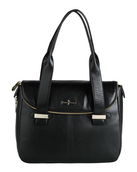 Lola Leather Satchel Bag, Black