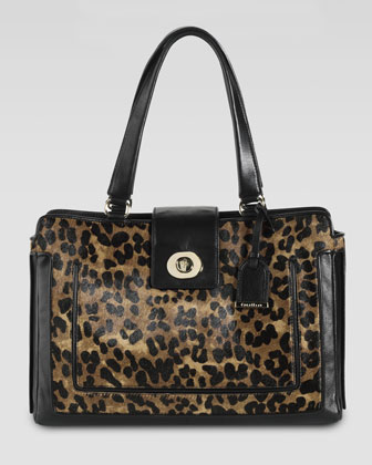 Lafayette Calf Hair Novelty Tote, Woodbury Brown