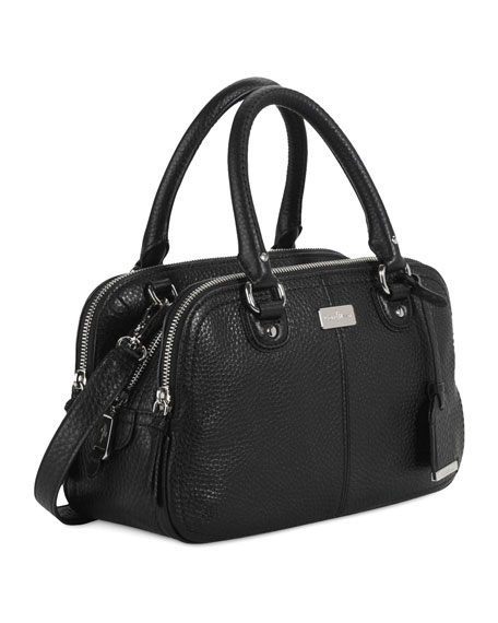 Village Small Triple-Zip Satchel Bag, Black