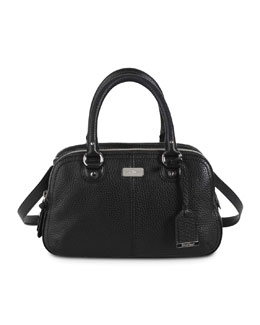 Cole Haan Village Small Triple-Zip Satchel Bag, Black