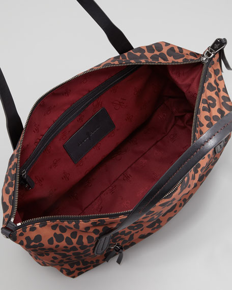 Parker Nylon Zip-Top Shopper Tote Bag, Leopard Print