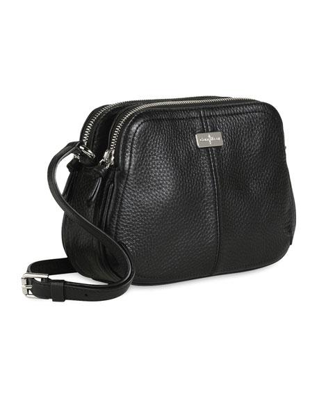 Village Double Zip Crossbody Bag, Black