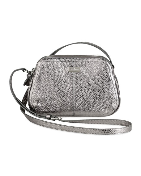 Village Double Zip Crossbody Bag, Silver