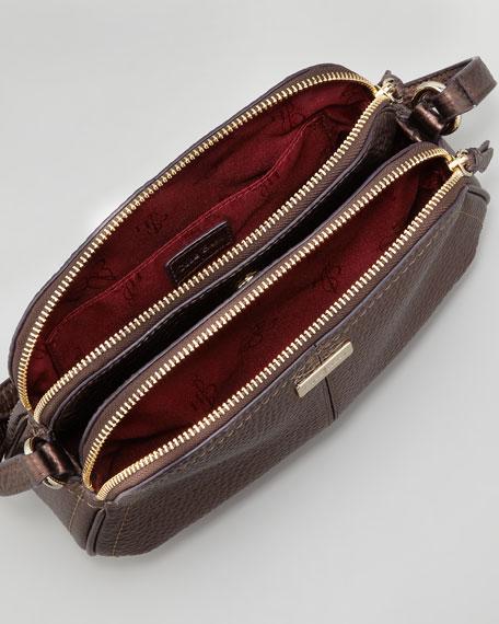 Village Double Zip Crossbody Bag Brown