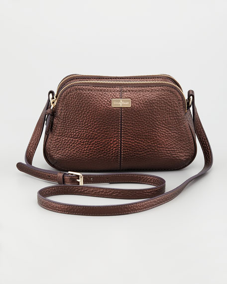 Village Double Zip Crossbody Bag, Brown