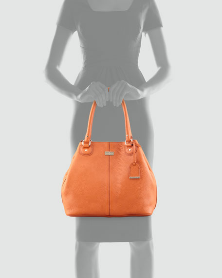 Village Convertible Leather Tote Bag, Orange