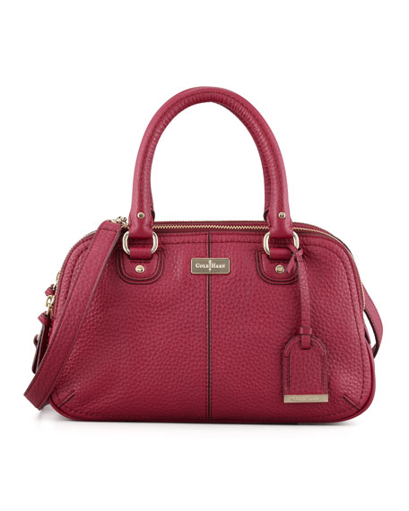 Village Small Triple Zip Satchel, Wine