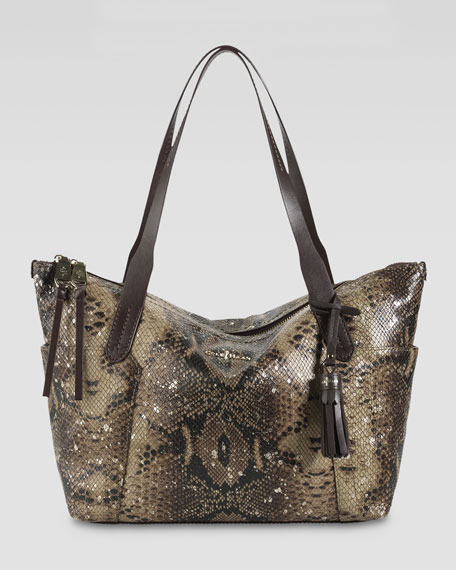 Parker Zip-Top Shopper Tote Bag, Snake Print
