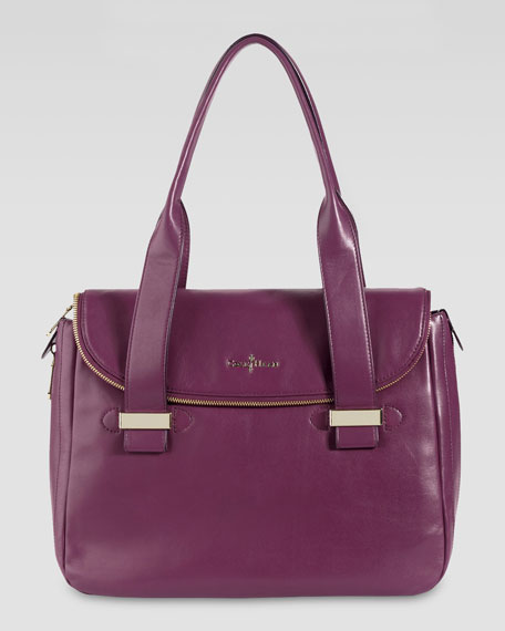 Lola Leather Satchel Bag, Wine