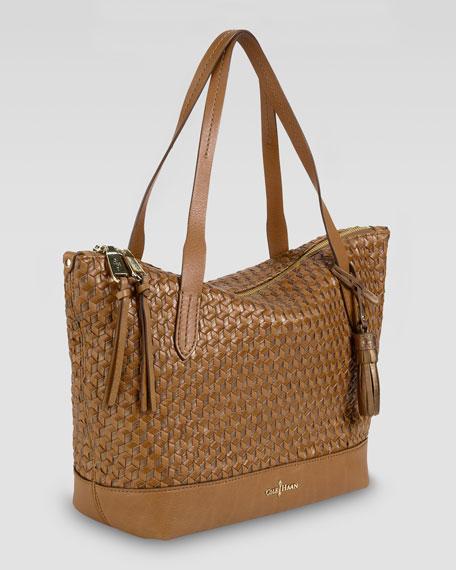 Parker Woven Zip-Top Shopper Tote Bag, Brown