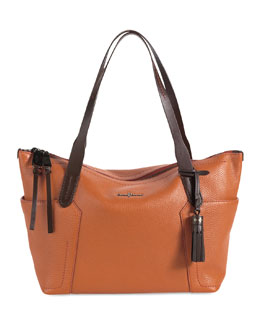 Cole Haan Parker Zip-Top Shopper Tote Bag, Orange