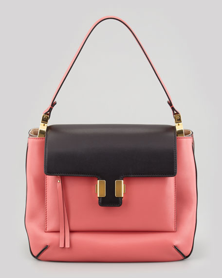 Amelia Medium Colorblocked Flap Shoulder Bag, Rose