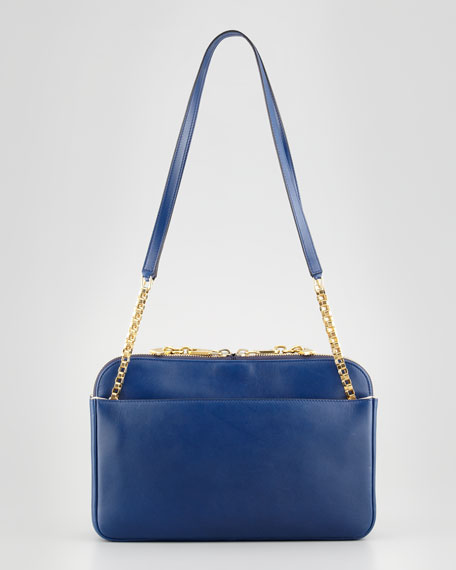 Lucy Medium Leather Shoulder Bag, Navy